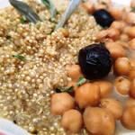 Asiette de pois chiche sauce cumin et olives