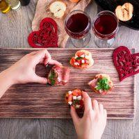 Amour et repas de Saint-Valentin